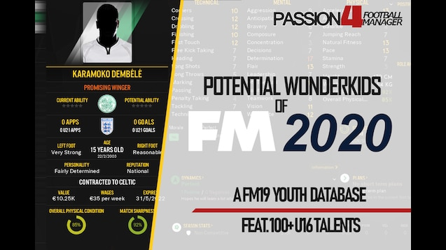 Steam Workshop :: Potential FM2020 Wonderkids & U16 Talents