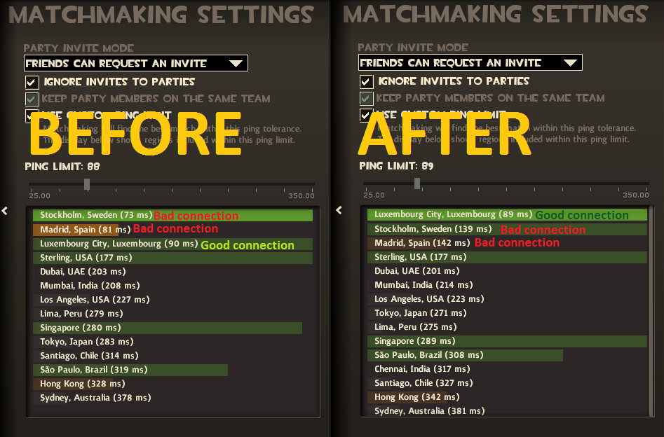 matchmaking ping limit csgo