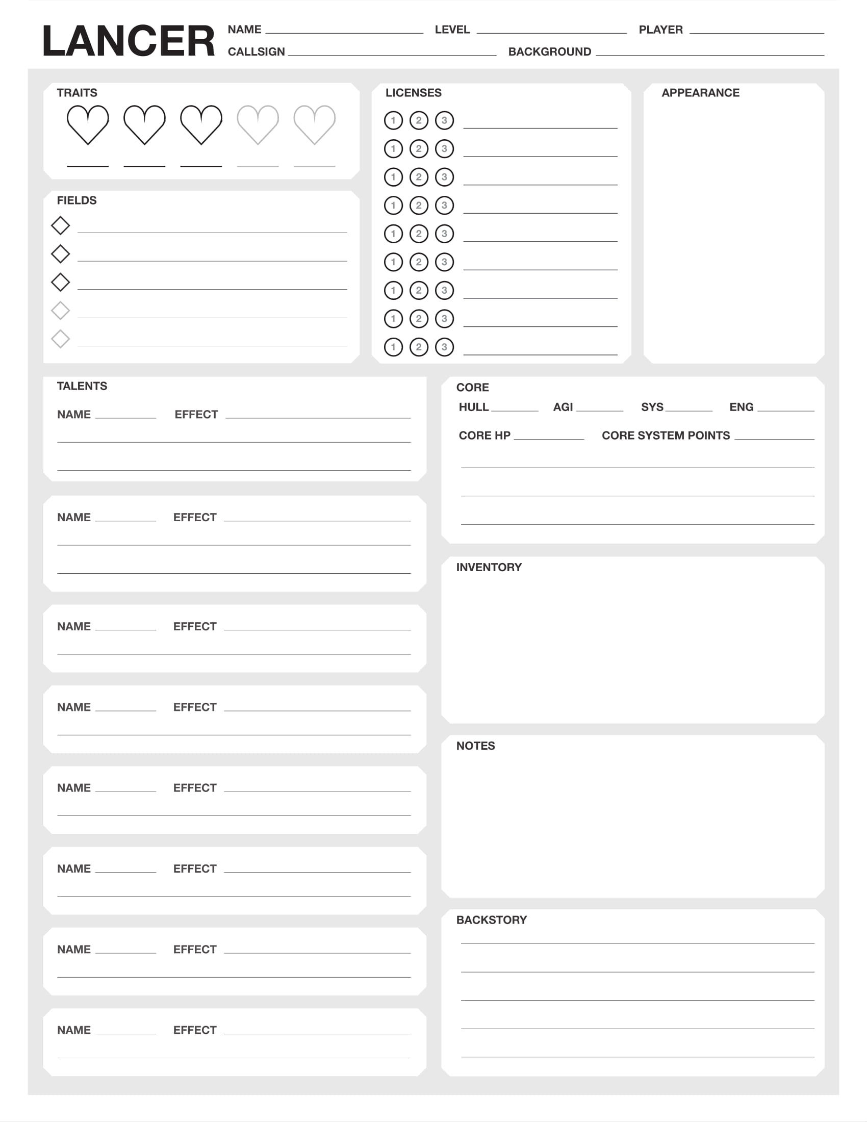 graphic relating to Printable Character Sheet identify Steam Workshop :: Lancer Identity Sheets (1.8/1.7 suitable)
