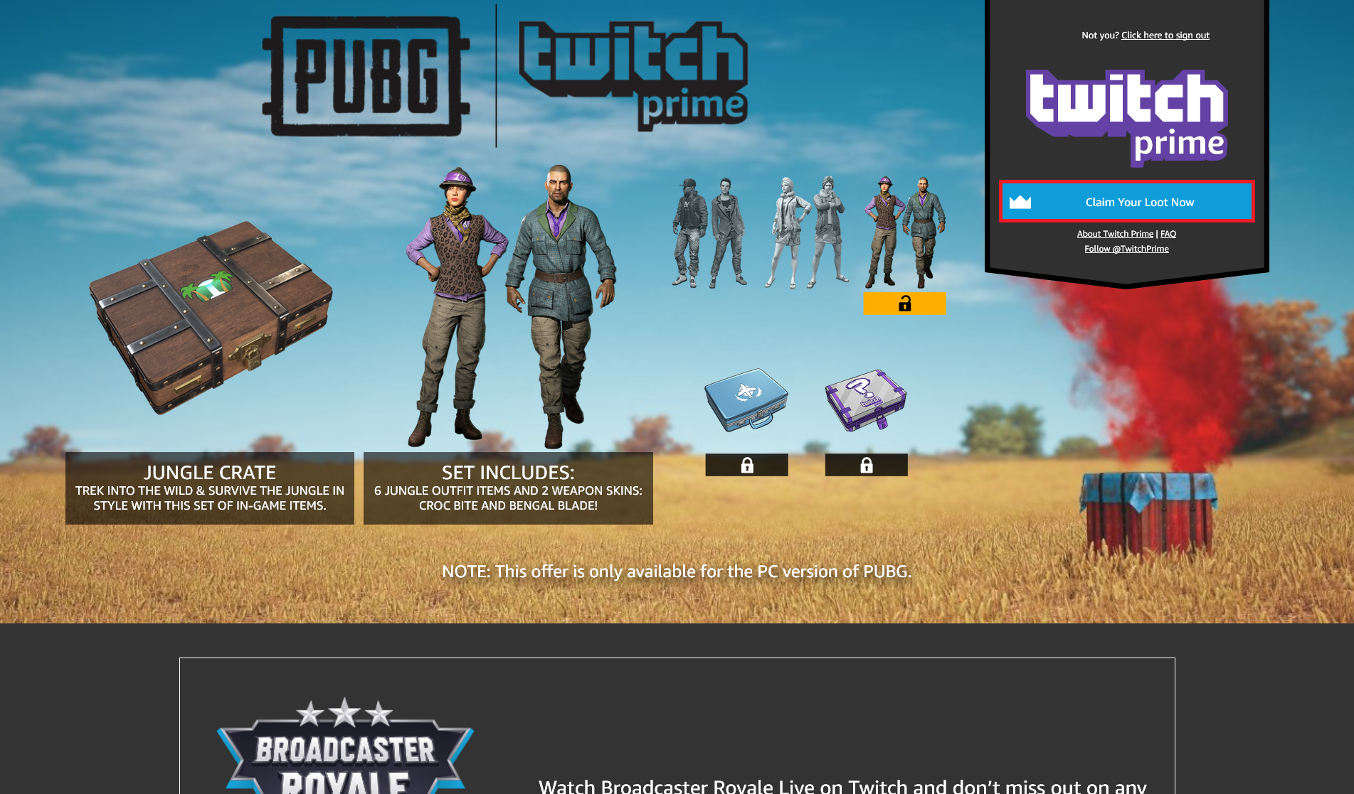 [Халява] Получаем Pilot Set за Twitch Prime в PUBG