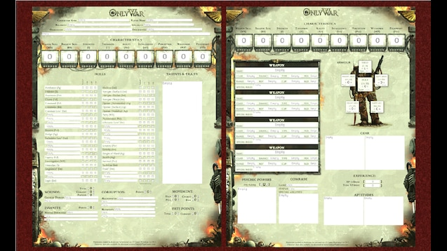 Steam Workshop Only War Character Sheet