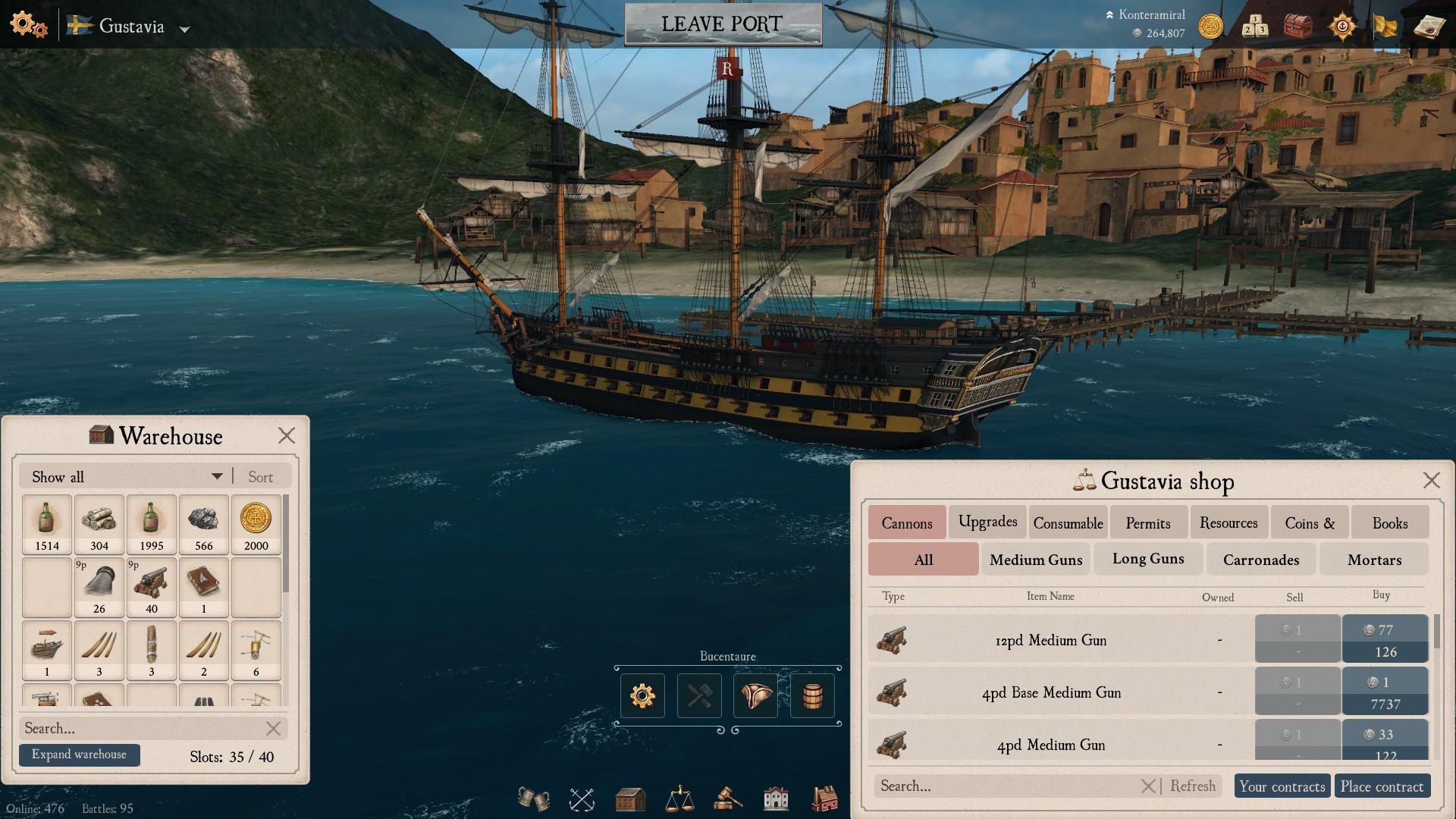Auf dem Screenshot sind zwei der neuen Menus aufgeklappt. Links das neue Lager, rechts der neue Marktplatz.